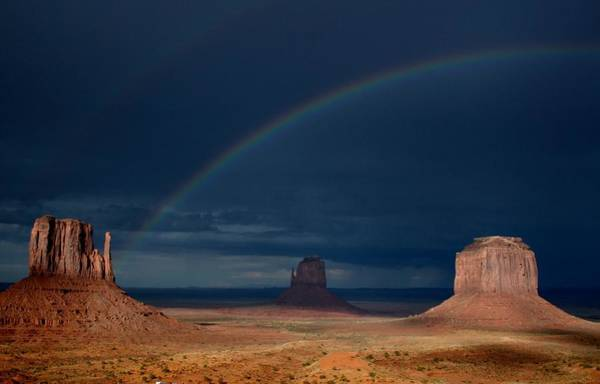 The Mitten Photograph - Monument Valley Rainbows 2 by Mo Barton