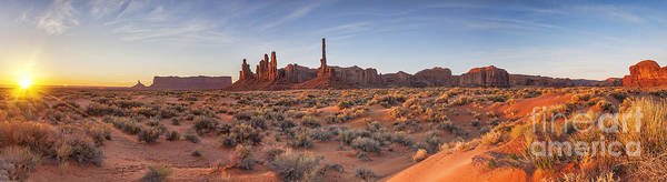 Monument Valley Navajo Tribal Park Wall Art - Photograph - Monument Valley Sunrise Panorama by Colin and Linda McKie