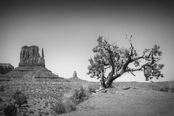 Geologic Formation Photograph - Monument Valley West Mitten Butte Bw by Melanie Viola