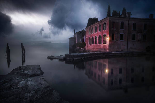 Clear Water Photograph - Moody Evening At Garda's Lake by Luca Rebustini