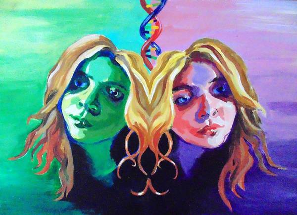 Double Helix Painting - Moody Gemini by Kirsten Logerquist