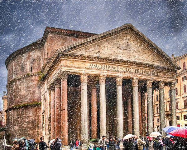Photograph - Moody Winter Day At The Ancient Pantheon - Rome by Mark Tisdale