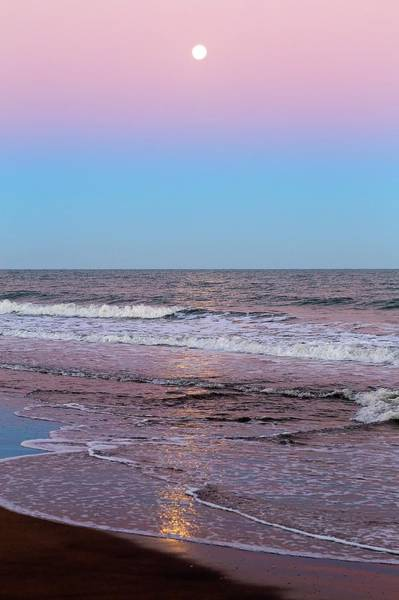 Astronomical Twilight Photograph - Moon And Belt Of Venus Effect by Luis Argerich
