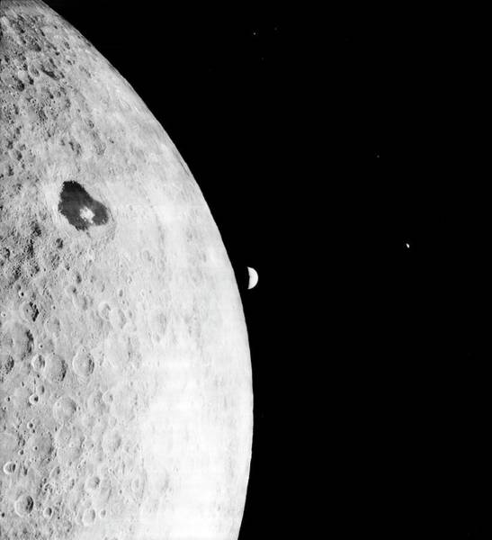 Earth Orbit Photograph - Moon And Earth From Lunar Orbiter 1 by Nasa/loirp/science Photo Library