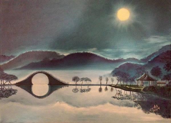 Wall Art - Painting - Moon Bridge by Judy Jones