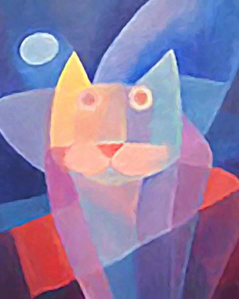 Painting - Moon Cat by Lutz Baar