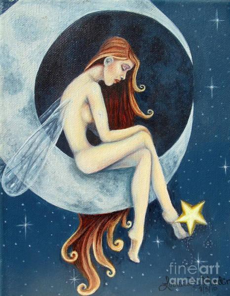 Wall Art - Painting - Moon Fairy by Lorraine Davis Martin