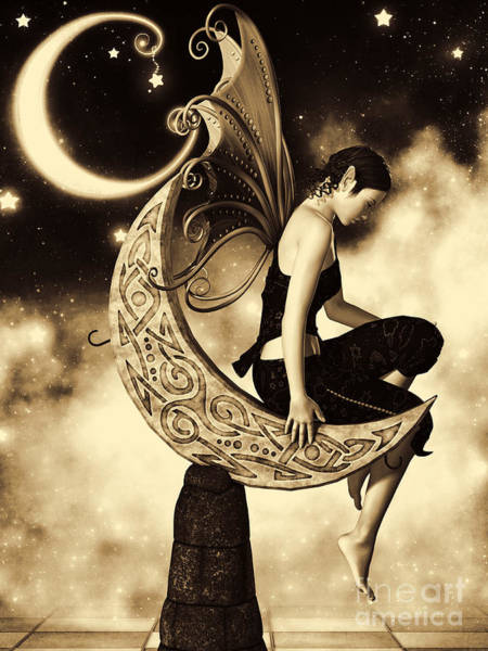Babe Digital Art - Moon Fairy Sepia by Alexander Butler