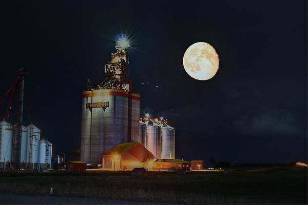 Photograph - Moon Glow Over Elevator by David Matthews