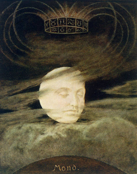 Signs Of The Zodiac Painting - Moon by Hans Thoma