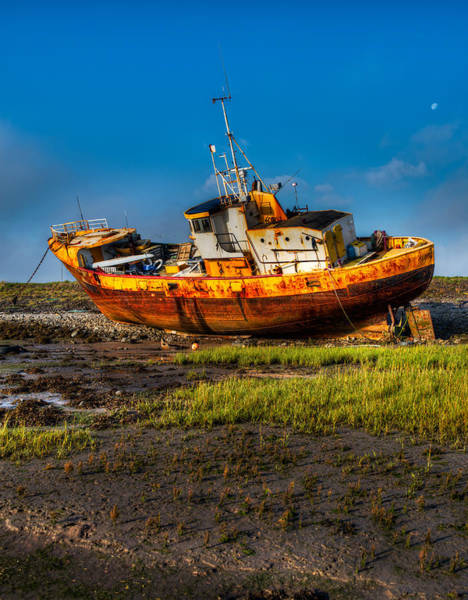 Photograph - Moon Over Beached Fishing Boat In Rampside Uk by Dennis Dame