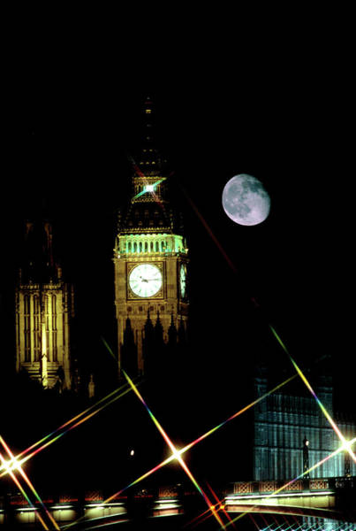 Moon Over Big Ben Art Print by Robin Scagell/science Photo Library