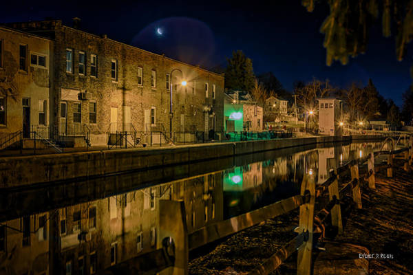 Phoenix Photograph - Moon Over Canal by Everet Regal