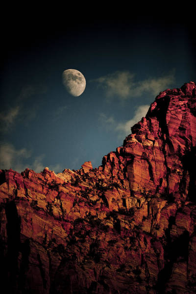 Wall Art - Photograph - Moon Over Cliff by Juan Carlos Diaz Parra