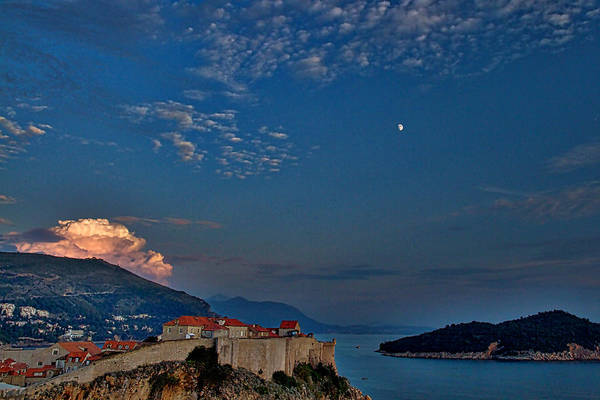 Lokrum Photograph - Moon Over Dubrovnik's Walls by Stuart Litoff