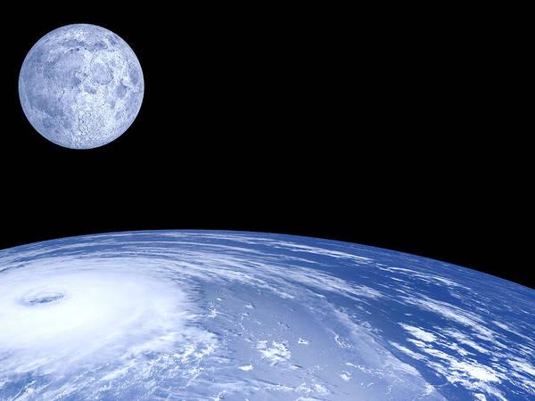 Wall Art - Photograph - Moon Over Earth by Laguna Design
