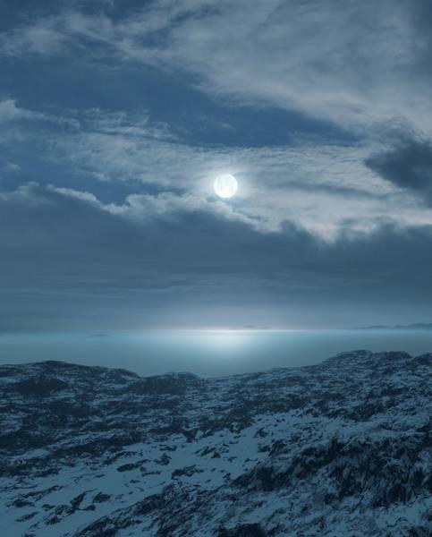 Wall Art - Photograph - Moon Over Frozen Landscape by Detlev Van Ravenswaay