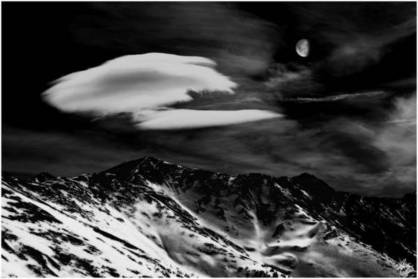 Photograph - Moon Over Loveland Monochrome by Wayne King
