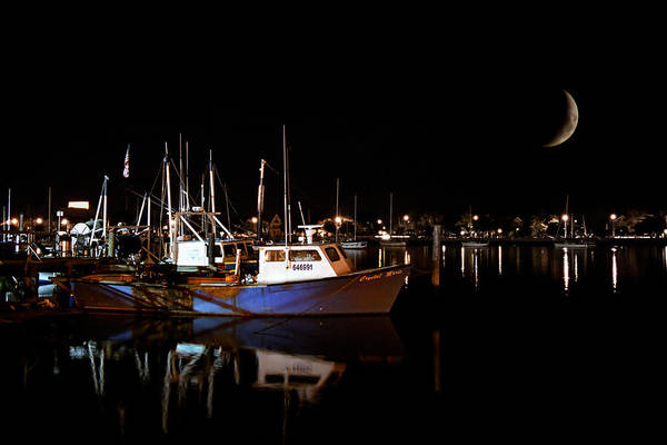 Photograph - Moon Over Marina 1 - Sheepshead Bay Brooklyn New York by Gary Heller