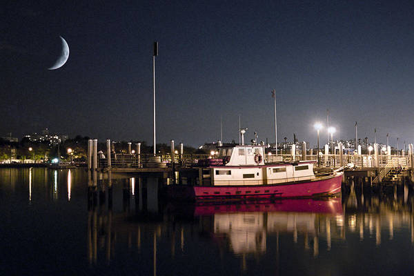 Photograph - Moon Over Marina 2 - Sheepshead Bay Brooklyn New York by Gary Heller