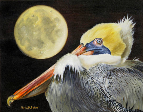 Wall Art - Painting - Moon Over Mississippi A Pelicans Perspective by Phyllis Beiser