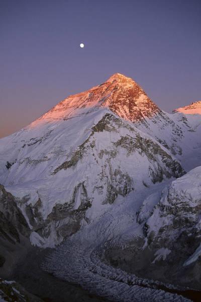 Dixon Photograph - Moon Over Mount Everest Summit by Grant  Dixon