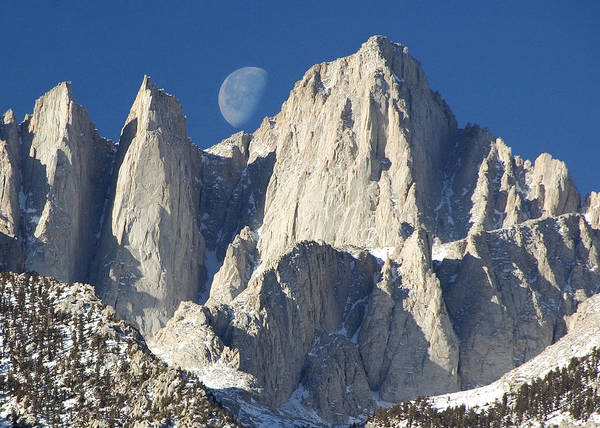 Sierra Nevada Photograph - Moon Over Mt Whitney by Keith Marsh