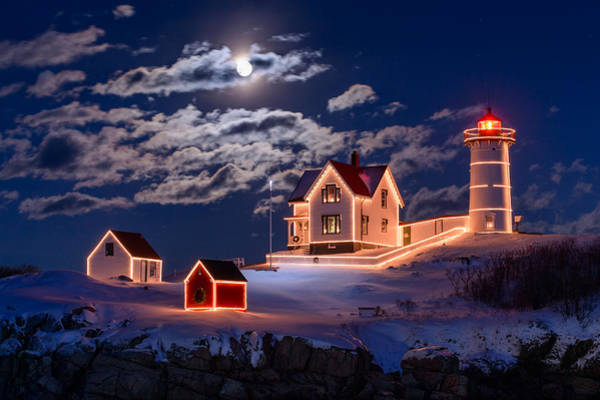 Winter Holiday Photograph - Moon Over Nubble by Michael Blanchette