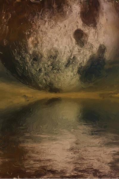 Messy Painting - Moon Over Ocean by Inspirowl Design