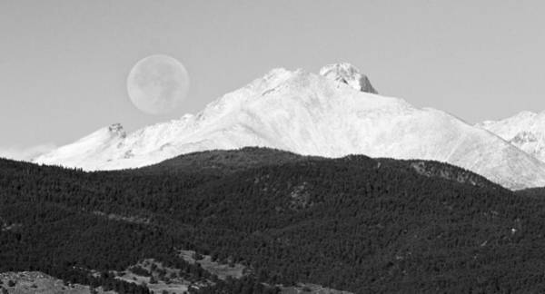 Photograph - Moon Over Snow Covered Twin Peaks Bw Panorama by James BO Insogna