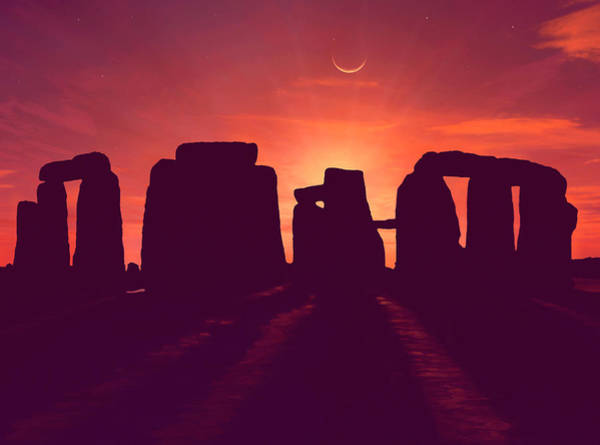 Historical Marker Photograph - Moon Over Stonehenge by Mark Garlick/science Photo Library