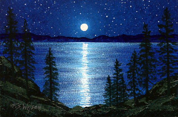 Painting - Moon Over Tahoe by Frank Wilson