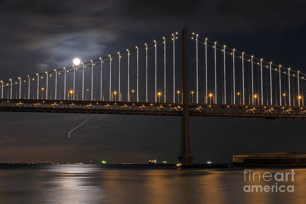 Photograph - Moon Over The Bay Bridge by Kate Brown