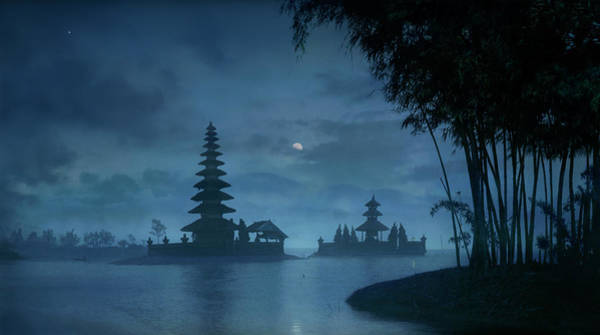 Bratan Photograph - Moon Over Ulu Danu Temple In Lake by Per-Andre Hoffmann
