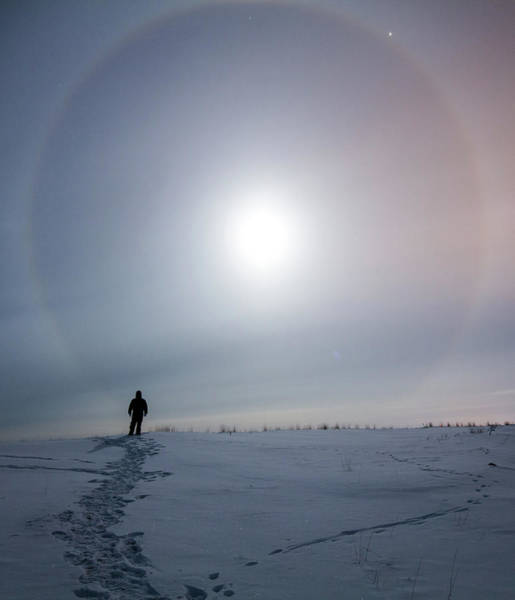 Yellowknife Wall Art - Photograph - Moon Ring Over Northern Canada by Dave Brosha Photography