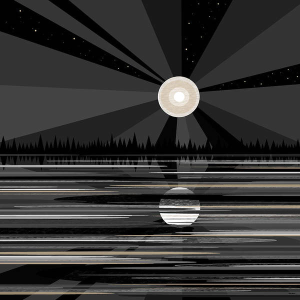 Moon Rise - Black And White Art Print