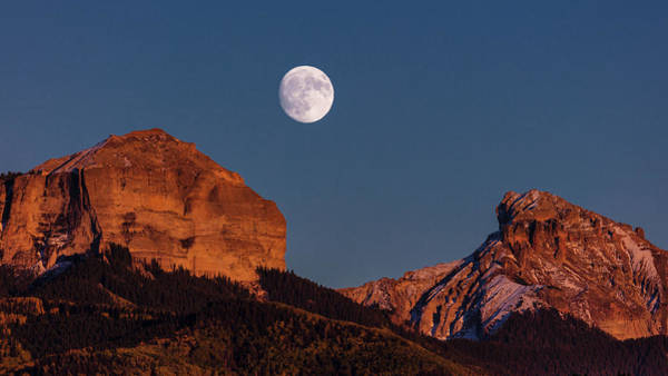 Ridgway Photograph - Moon Rise Over Cimarron Mountain Range by Panoramic Images