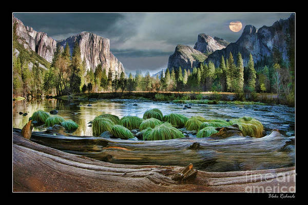 Photograph - Moon Rise Over Yosemite Peaceful River by Blake Richards
