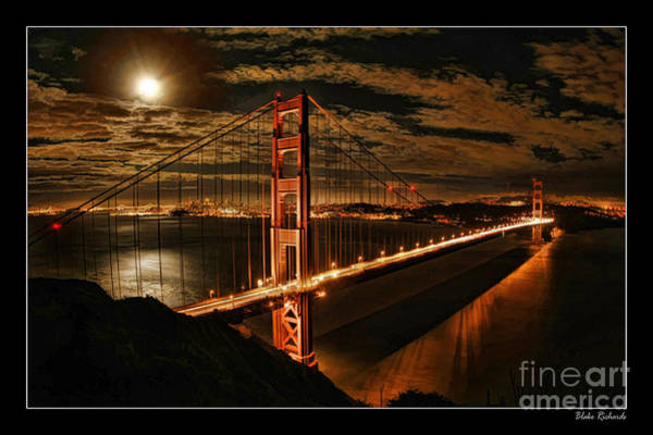 Photograph - Moon Rise San Francisco Golden Gate Bridge by Blake Richards