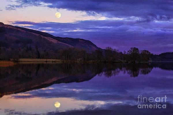 Loch Ard Photograph - Moon Rising Over Loch Ard by John Farnan