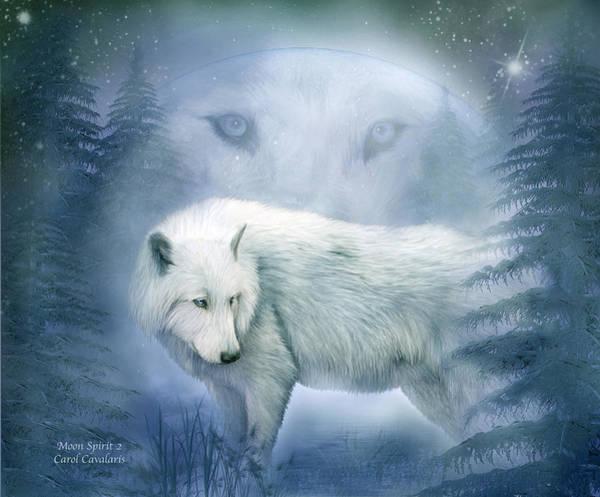 Mixed Media - Moon Spirit 2 - White Wolf - Blue by Carol Cavalaris