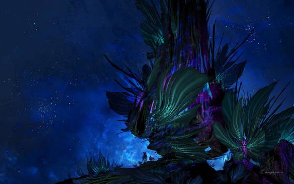 Shipping Digital Art - Moon Tree Hills by Cassiopeia Art