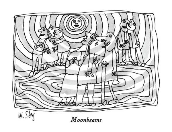Trio Drawing - Moonbeams by William Steig
