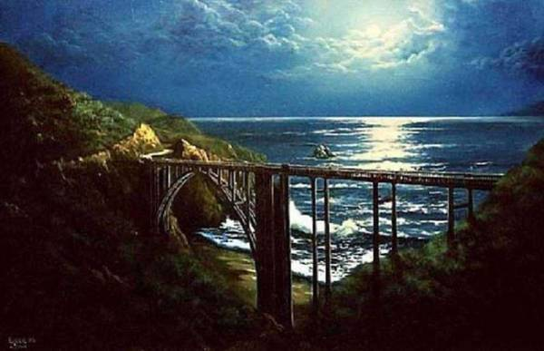 Sand Creek Painting - Moonglow Over Bixby by Lynne Wright