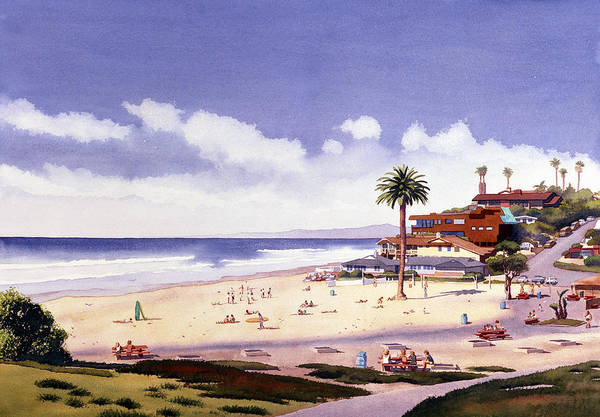 California Wall Art - Painting - Moonlight Beach Encinitas by Mary Helmreich