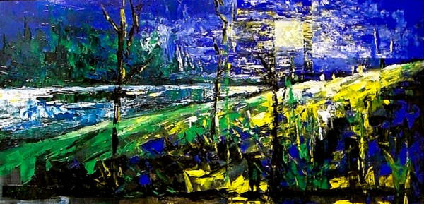 Painting - Moonlight Blue by Laurend Doumba