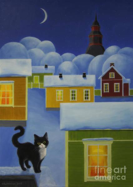 Wall Art - Painting - Moonlight Cat by Veikko Suikkanen