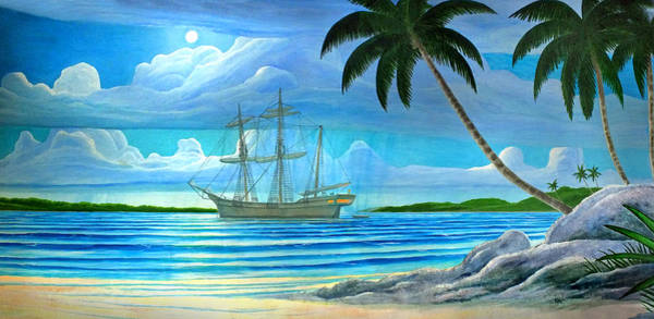 Painting - Moonlight Cove Ship Mural Painting 1 by Duane McCullough
