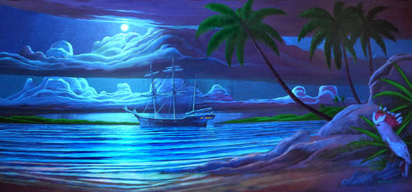 Painting - Moonlight Cove Ship Mural Painting 2 by Duane McCullough