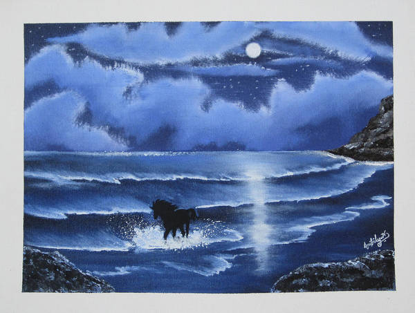 Wall Art - Painting - Moonlight Gallop by Ambily N
